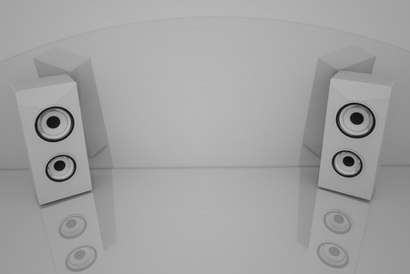 speaker: 3d White speakers on the grey background with some reflections Stock Photo