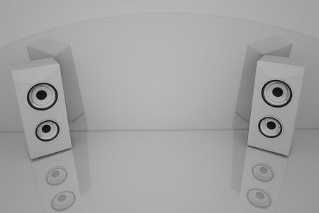 PARLANTE: Altavoces blancos 3d en el fondo gris con algunas reflexiones Foto de archivo