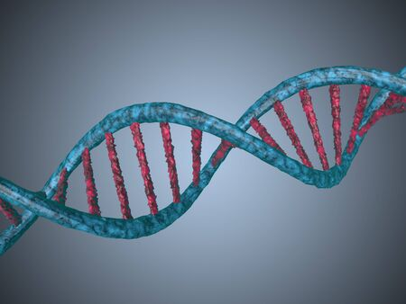 genomes: digital illustration of a dna generated in 3d