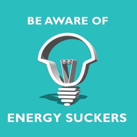 social awareness symbol: energy sucker save energy 120w bulb Stock Photo