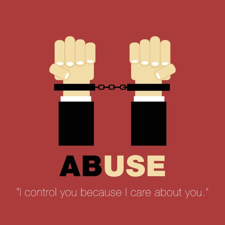 sexual health: poster about controlling other person abuse hands with cuffs