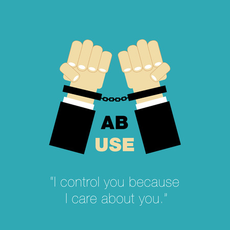 controlling: abuse poster hands with cuffs and controlling as care about other person Stock Photo