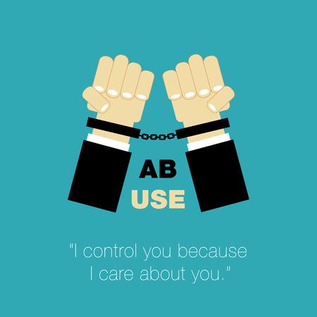 salud sexual: abuso de carteles manos con los puños y el control como la atención sobre otra persona Foto de archivo