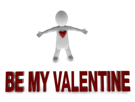 endearing: be my valentine 3d person surrounded by heart shapes