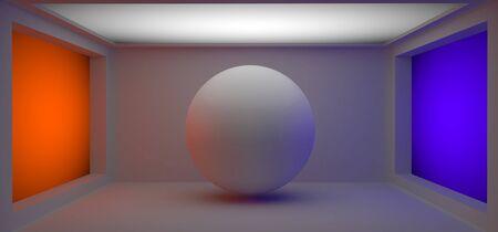 3d ball: white 3d ball in the colorfull studio room