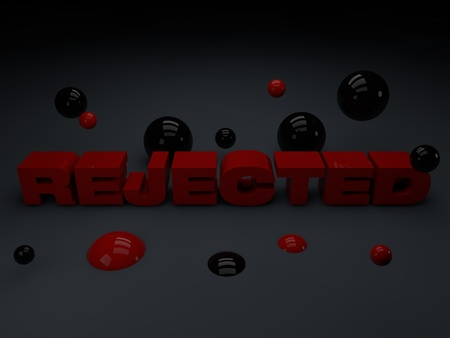 seclusion: Rejected word written with 3d red capital letters on a dark grey background with spheres of red and black paint falling down