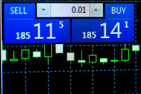 Updated rates of the currency market with changed prices for buying and selling, displayed above a candlestick chart on an electronic screen
