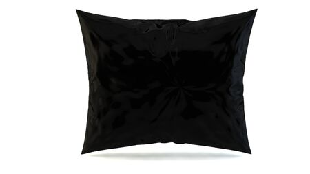 headboard: close up of a black pillow on white 3d render
