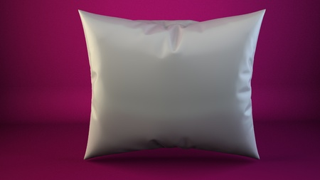 headboard: aclose up of a white pillow on pink 3d render