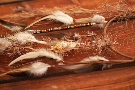 native culture: native american bad dream catcher on wood Stock Photo