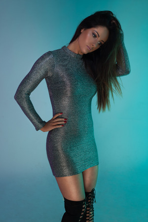 sequined: fashion photo of young gorgeous woman in sequined dress
