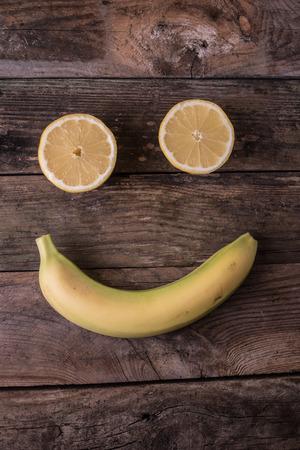 emot: banana and lemon making a smile face emot Stock Photo