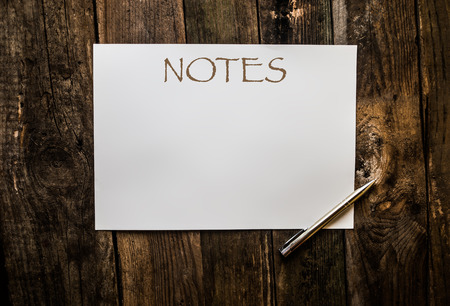 blank page: empty blank page for text with the pen on wood Stock Photo