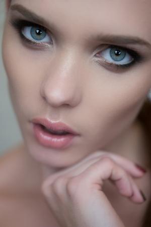 beauty woman portrait with blue eyes