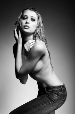 topless jeans: topless fashion woman wearing jeans black and white