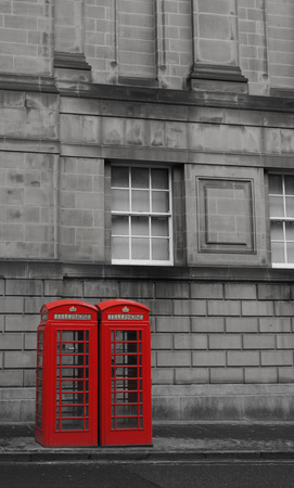 antique booth: Two British Phone Booths on Royal Mile street in Edinburgh, Scotland