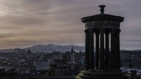 scott monument: View of Edinburgh city and Scott Monument during sunset from Calton Hill, Scotland
