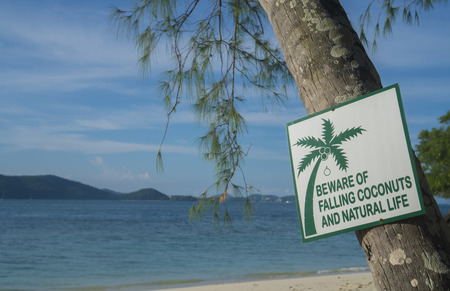 he: Beware of falling coconuts and natural life sign on Banana Beach, Koh He, Thailand