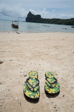 paradise bay: Flipflops on a sandy ocean beach over tropical landscape. Summer vacation concept