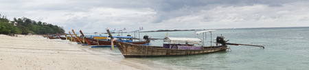 Panoramic view of boats in the port of Ko Phi Phi island, Thailand Editorial