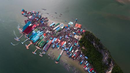 barca da pesca: Aerial landscape view of Koh Panyee village, Thailand, Asia