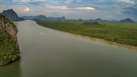tourist feature: Aerial view Phang Nga Bay Marine National Park protected and of international ecological significance wetlands forestation, Thailand Stock Photo