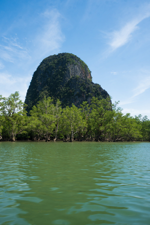 forestation: Aerial view Phang Nga Bay Marine National Park protected and of international ecological significance wetlands forestation, Thailand Stock Photo