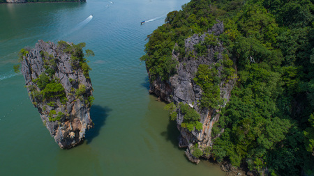 james: Aerial view of James Bond island and beautiful limestone rock formations in the sea, Thailand Stock Photo