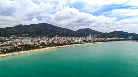 beautiful sky: Beautiful aerial view of Patong beach over city, mountains and sky backround in Phuket, Thailand
