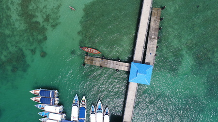 pier: Aerial drone top view photo of pier on Rawai beach in Phuket, Thailand