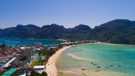 Aerial drone photo of iconic tropical beach and resorts of Phi Phi island, Thailand Stock Photo