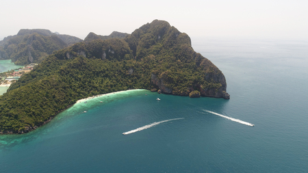 Aerial drone photo of Yong Kasem Bay (called Monkey beach), part of iconic tropical Phi Phi island, Thailand Stock Photo