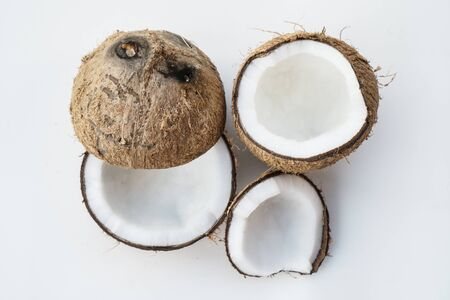 Closeup of coconuts isolated on the white background