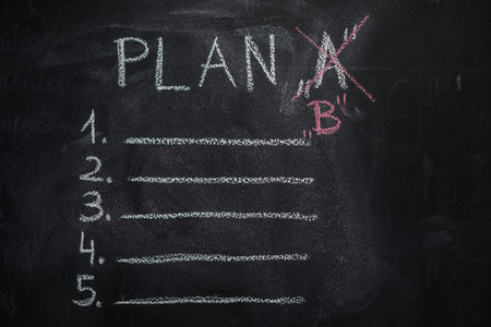 Plan A list and B written with white chalk on blackboard. To do list concept Stock Photo