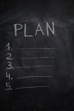 numbers background: Plan list written with white chalk on blackboard. To do list concept