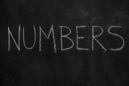 numbers background: Numbers word written with chalk on blackboard. Education, school concept