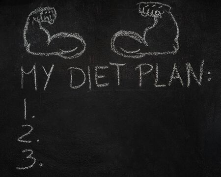 weekly: Fitness arms and My diet plan list drawn with chalk on blackboard Stock Photo