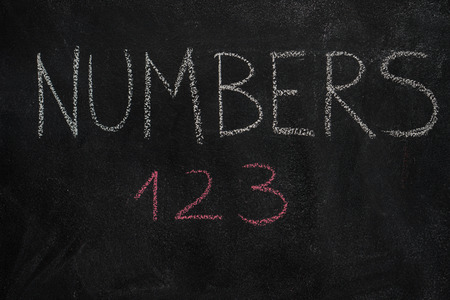 numbers background: Numbers word and 123 written with chalk on blackboard. Education, school concept