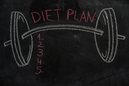 strenght: Barbell and diet plan list drawn with chalk on blackboard