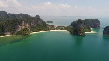 Aerial view of Railay beach and coastline in Krabi province, Thailand Stock Photo