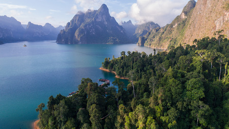 Aerial drone view of beautiful mountains and lake in Khao Sok National Park, Surat Thani, Thailand