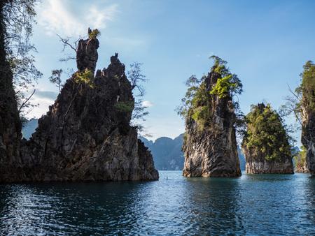 Beautiful view mountains and lake from boat in Ratchaprapa dam, Khoa Sok National Park, Surat Thani, Thailand Stock Photo