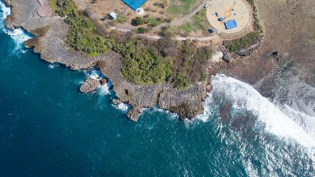 Aerial drone view of Peninsula Island, Bali, Indonesia