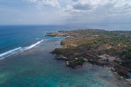 Aerial drone view coastline of beautiful Nusa Lembongan and Dream Beach, Bali, Indonesia