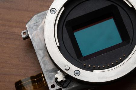 Closeup of digital camera full frame sensor and lens mount