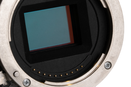 Closeup of digital camera full frame sensor and lens mount
