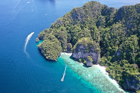 Aerial drone view of beautiful Phi Phi island with amazing lagoon sea, Thailand