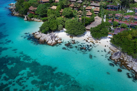 Aerial drone view of beautiful tropical Sunrise Beach during sunny summer day, Koh Lipe, Thailand Stock Photo