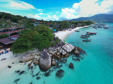 Aerial drone view of beautiful tropical Sunrise Beach during sunny summer day, Koh Lipe, Thailand Editorial