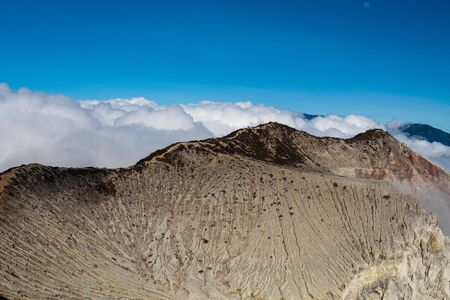 Aerial view of beautiful Ijen volcano crater edges, Java, Indonesia